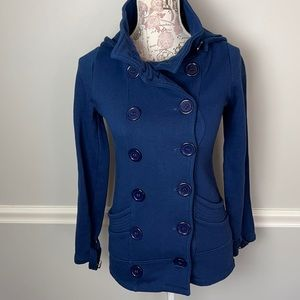 Glimmer by JJ Basics Blue Double Breasted Peacoat